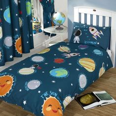 Solar System Single Duvet Cover Set + 66In X 54In Matching Lined Curtains