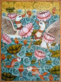 63 Ideas Folk Art Painting Flowers Inspiration Floral Patterns For 2019 Pichwai Paintings, Indian Art Paintings, Abstract Paintings, Madhubani Art, Madhubani Painting, Blue Drawings, Tattoo Drawings, Tattoos, Kalamkari Painting