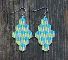 Beaded Geometric Box pattern Earrings