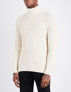 TOM FORD Turtleneck knitted cashmere and wool-blend sweater Warm Clothes For Men, Mens Turtleneck, Men Sweater, Warm Outfits, All About Fashion, Men Looks, Knitting Designs, Cotton Sweater, Men's Knitwear