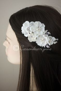 Ivory Wedding Hair Flower Clip with lace and Pearl Accents