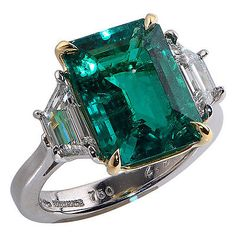 4.96ct GIA Certified Colombian Emerald & Diamond Ring Set in Gold & Platinum