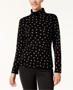 Karen Scott Printed Turtleneck Top, Created for Macy's.  #Under$15 #shopping #ad #fashion #deals