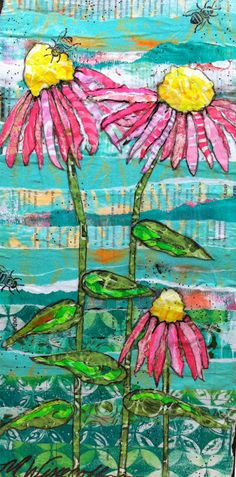 I have loved adding some neon paints into the gelli printing process.  So peeks of neon are started to show through in my latest mixed media paper paintings.  I'm loving the pop! -- Lucy's Lampshade: Using a little neon in my paintings.