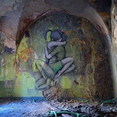 Abandoned district of Ariano Irpino, Italy, by Seth the Globe painter