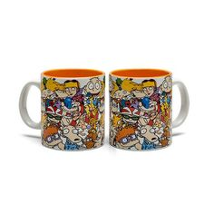 Pour yourself a generous hot drink in this Nickelodeon Nicktoons Collage 20 oz Mug, sit back, and remember the days of being a kid enjoying the quirky humor of Nickelodeon's wildly successful cartoon lineup. Nickelodeon Cartoons, Disney Mugs, Rugrats, Gumball, Tea Time, Coffee Mugs, Cups, Hey Arnold, Collage