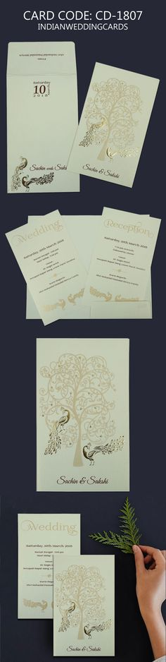 IVORY MATTE PEACOCK THEMED - EMBOSSED WEDDING INVITATIONS...#weddings #invitations #peacock #design #handmade #papercraft #marriage #artist