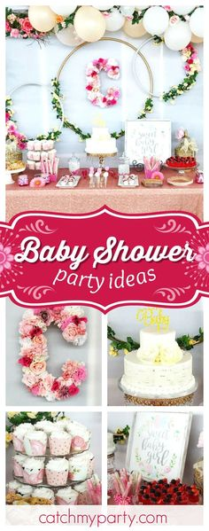 Swoon over this gorgeous floral baby shower! The floral hoop backdrop is so pretty!! See more party ideas and share yours at CatchMyParty.com #catchmyparty #partyideas #babyshower #floralparty #rusticparty
