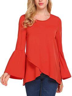 93817e5506 ELESOL Women s Loose Ruffle Hem Tunic Long Sleeve High Low Peplum Blouse Top  Orange S