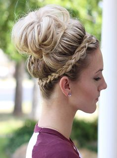 Top Bun with Braided Headband Hairstyle