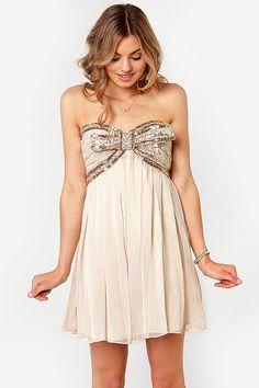Strapless Beige Sequin Bow Dress