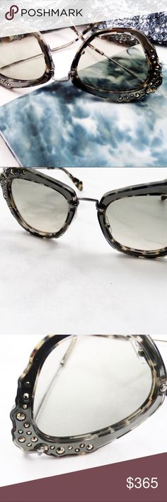 Miu Miu Smoky Gray Crystal Jeweled Cat Eye Sunnies Details: * Gunmetal/gray frames with crystal accents * Oversized cat eye shape  * Comes with box, case, dust bag, cleaning cloth, authenticity card * NWT  05221701 Miu Miu Accessories Sunglasses