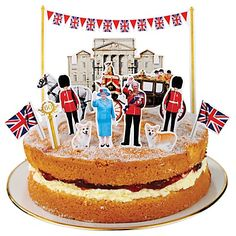 Jubilee cake toppers  Make any cake a royal one with these toppers. Cute!... Will have to remember this for the Munchkins next birthday, little cuts outs of out family on a cake would be lovely...