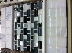 Melissa said she likes white/black/gray subway tile for backsplash in kitchen, I saw this at home depot