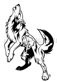 A tribal wolf head tattoo on man's left arm. Tribal wolf tattoos are great
