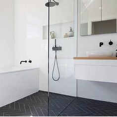 Wet Room Set Up Bath In Shower Area Bathroom Renovations Perth Shower Niche Shower Recess Black and White Tiny Bathroom 7 Amazing Black and White Bathroom Cozy Decoration! Find ideas for Bathroom with many of inspiring photos from design professionals. Wet Room Bathroom, Diy Bathroom Decor, Bathroom Renos, Bathroom Layout, Simple Bathroom, Bathroom Interior Design, White Bathroom, Bathroom Ideas, Bathroom Niche