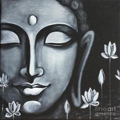 Buddha Peace, Art Prints of Original Painting by Pratibha Madan Budha Painting, Peace Painting, Painting & Drawing, Ganesha Painting, Drawing Tips, Buddha Drawing, Buddha Art, Buddha Peace, Black Canvas Paintings