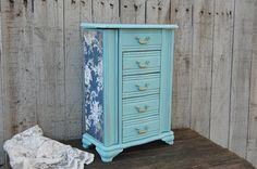Blue shabby chic jewelry armoire