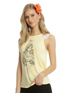 Disney Beauty And The Beast Belle Lace Sleeve Girls Tank TopDisney Beauty And The Beast Belle Lace Sleeve Girls Tank Top, YELLOW