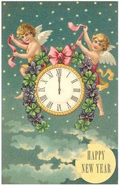 enjoy source happy new year victorian angels with clock premium poster
