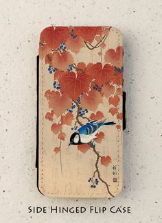 iphone 4 5 or 6 flip case  Japanese  Bird  by LilyPartoneauArt