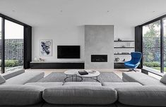 There maybe hundreds of different contemporary living room styles, but the easiest way to begin to get the contemporary look … Living Room Decor Fireplace, Home Fireplace, Modern Fireplace, Living Room Tv, Fireplace Design, Home And Living, Apartment Living, Small Living, Black Fireplace