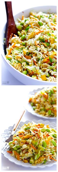 Crunchy Asian Ramen Noodle Salad -- ready to go in about 15 mins, and modernized with fresher ingredients! gimmesomeoven.com #salad #vegetarian