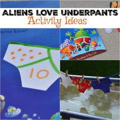 Our Aliens LOVE Underpants washing line from a few weeks ago was so much fun it led to lots of other Alien and Underpant themed ideas. The washing line act