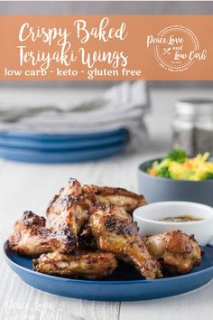 All of the delicious flavors of sugary, fried teriyaki wings, but none of the gluten and carbs. Paleo Recipes, Asian Recipes, Low Carb Recipes, Low Carb Appetizers, Appetizer Recipes, Teriyaki Wings, Chicken Wing Recipes, Keto Chicken, Keto Friendly Desserts