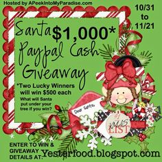 Yesterfood : Santa PayPal Cash Giveaway!