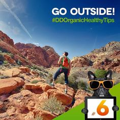 """TIP #6: GO OUTSIDE  According to Kathleen Hall, PhD, founder of the Stress Institute in Atlanta, """"Fresh air is full of feel-good negative ions, which may boost oxygen flow to the brain, making you feel less stressed and relaxed.  #DDHealthyTips #organic #healthyliving #healthy #loveorganic #DarkDogOrganic"""