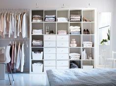 Kallax shelves - flexible versatility at an affordable price - Schlafzimmer -Ikea Kallax shelves - flexible versatility at an affordable price - Schlafzimmer - Dressing Room on a Low Budget Hemma hos Louise & Filip Ikea Bedroom, Bedroom Wardrobe, Wardrobe Storage, Bedroom Inspirations, Bedroom Furniture, Bedroom Storage, Home Bedroom, Ikea Closet, Closet Bedroom