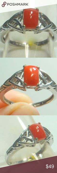 NWT Natural Mediterranean Coral Ring Natural Mediterranean Coral Ring, Platinum Plated .925 Sterling Silver Size 7 Jewelry Rings