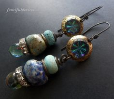 """""""Don't wait any longer.  Dive in the ocean,  Leave and let the sea be you."""" ― Rumi   Mismatched handmade lampwork headpins, rhinestone rondelles,"""