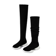 57% СКИДКА ALLBITEFO эластичные сапоги из натуральной кожи и эластичной  ткани, зимние женские сапоги трубы, модные сапоги выше колена на низком  каблуке ... b83cea96d41
