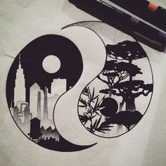 Yin Yang, Nature vs City. Dotwork