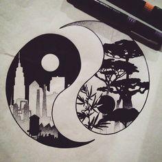 Yin Yang, Nature vs City. Dotwork