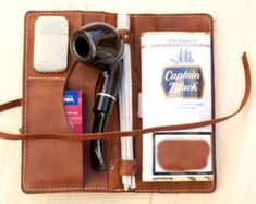 Leather Pipe & Tobacco Pouch Handmade in the by SorringowlandSons
