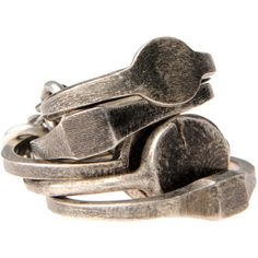 I like the way these look: Ann Demeulemeester rings Antique Rings, Antique Jewelry, Silver Jewelry, Antique Silver, Jewelry Rings, Metal Jewellery, Silver Rings, Modern Jewelry, Diamond Jewelry