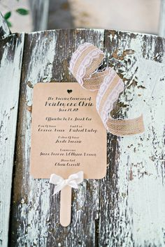 Rustic wedding stationery idea - brown cards with burlap and lace details {Andie Freeman Photography}