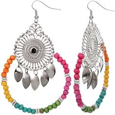 Multicolor Wooden Beaded Round Dangle Earrings - Candy Luxx