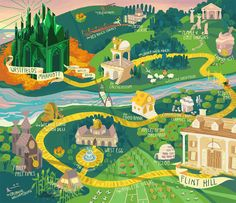 """yumbles: """"For an invitation to a spring gala at a private school in Virgnia, themed after the Wizard of Oz. The whole map was meant to be the school and its values / various programs as represented by. Character Illustration, Illustration Art, Map Illustrations, Mountain Illustration, Design Thinking, Create A Brochure, Pamphlet Design, Map Layout, Campus Map"""