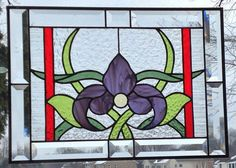 Stained glass panel window Art Nouveau purple iris by SGHovel