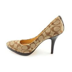 Authentic Coach Heels Authentic coach heels! Great condition! Dark khaki and dark brown and gold! Size 8.5! Very cute! Coach Shoes Heels