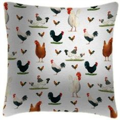 Martin Wiscombe Art Shop - Art Print Pillow with roosters and Hens Buy Chickens, Pub Signs, Printed Cushions, Fabric Birds, Roosters, Retro Art, Your Favorite, Printing On Fabric, Cushion Ideas