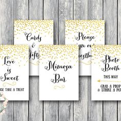 gold-confetti-wedding-signs-decoration-bridal-shower-signs
