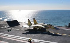 Shenyang J-15 Flying Shark naval-based fighter on deck aboard aircraft carrier Liaoning, People's Liberation Army Navy (PLAN).