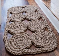 Greenhouse - this jute rope crocheted welcome mat is natural and cozy for the home! Crochet pattern from AwareKnits book on ec-friendly knit and crochet