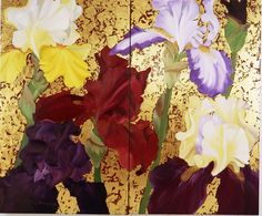 "Irises – a grand-scale, 60""x72"" oil and gold leaf on linen diptych by Alling"