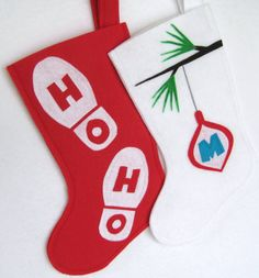 Santa's Footprints Modern Felt Christmas by stitcholicious on Etsy, $18.00